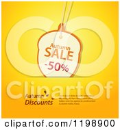 Clipart Of An Acorn Autumn Discount Sales Tag With Sample Text In A Slot On Yellow Royalty Free Vector Illustration by elaineitalia