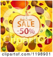 Clipart Of A Pumpkin Shaped Autumn Sale Discount Tag Over Acorns Leaves And Flares On Yellow Royalty Free Vector Illustration by elaineitalia