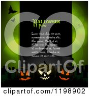 Clipart Of A Black Panel With Halloween Party Sample Text Glowing Pumpkins And Bats Over Green With Flares And Spiders Royalty Free Vector Illustration