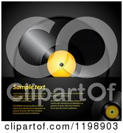 Vinyl Record Album With A Yellow Center Over Black With Sample Text
