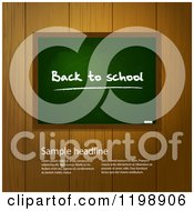 Clipart Of A Back To School Chalkboard Over Wooden Panels With Sample Text Royalty Free Vector Illustration by elaineitalia