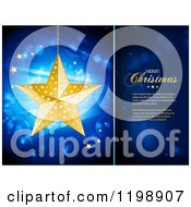 Clipart Of A Suspended Golden Christmas Star Over Flares And Rays On Blue With A Panel And Sample Text Royalty Free Vector Illustration