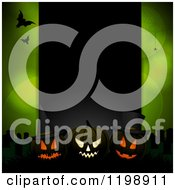 Clipart Of A Black Panel With Glowing Halloween Pumpkins And Bats Over Green With Flares And Spiders Royalty Free Vector Illustration by elaineitalia