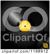 Clipart Of A Vinyl Record Album With A Yellow Center Over Black With Text Space Royalty Free Vector Illustration