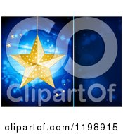 Suspended Golden Christmas Star Over Flares And Rays On Blue With A Text Space Panel