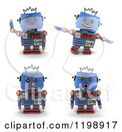 Clipart Of A 3d Blue Vintage Robot Toy In Four Poses Royalty Free CGI Illustration