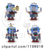 Clipart Of A 3d Blue Vintage Robot Toy In Four Poses 2 Royalty Free CGI Illustration