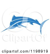 Clipart Of A Simple Blue Marlin Fish Royalty Free Vector Illustration