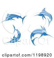 Clipart Of Simple Blue Marlin Fishes Royalty Free Vector Illustration
