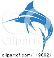 Clipart Of A Simple Blue Marlin Fish 2 Royalty Free Vector Illustration