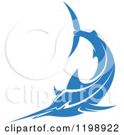 Clipart Of A Simple Blue Marlin Fish 3 Royalty Free Vector Illustration