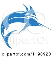 Clipart Of A Simple Blue Marlin Fish 4 Royalty Free Vector Illustration