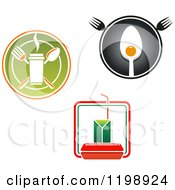 Clipart Of Takeout And Diner Logos Royalty Free Vector Illustration