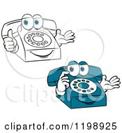 Clipart Of Thinking And Pleased Telephone Mascots Royalty Free Vector Illustration