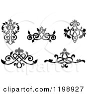 Clipart Of Black And White Ornate Floral Victorian Design Elements 3 Royalty Free Vector Illustration