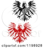 Clipart Of Black And Red Heraldic Eagles With Crowns Royalty Free Vector Illustration