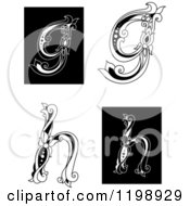 Clipart Of Vintage Black And White Floral Letters G And H Royalty Free Vector Illustration