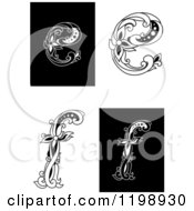Clipart Of Vintage Black And White Floral Letters E And F Royalty Free Vector Illustration