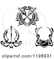 Clipart Of Black And White Heraldic Coat Of Arms Wreaths Royalty Free Vector Illustration