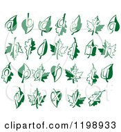 Clipart Of An Alphabet Of Letters And Green Leaves Royalty Free Vector Illustration