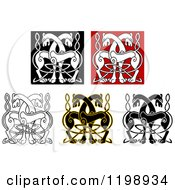 Clipart Of Celtic Horse Knot Designs Royalty Free Vector Illustration