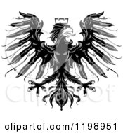 Clipart Of A Black And White Heraldic Eagle With A Crown Royalty Free Vector Illustration