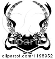 Clipart Of A Black And White Heraldic Coat Of Arms Wreath With Ribbons Royalty Free Vector Illustration