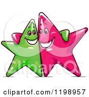 Clipart Of Happy Green And Pink Stars With Their Arms Around Each Other Royalty Free Vector Illustration