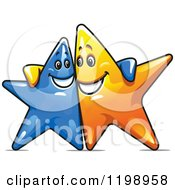 Clipart Of Happy Blue And Yellow Stars With Their Arms Around Each Other Royalty Free Vector Illustration