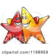Clipart Of Happy Red And Yellow Stars With Their Arms Around Each Other Royalty Free Vector Illustration