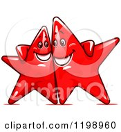 Clipart Of Happy Red Stars With Their Arms Around Each Other Royalty Free Vector Illustration