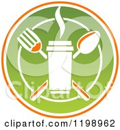 Clipart Of A Crossed Silverware And To Go Coffee Cup Over A Plate Royalty Free Vector Illustration by Vector Tradition SM