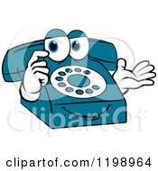 Clipart Of A Thinking Blue Telephone Mascot Royalty Free Vector Illustration