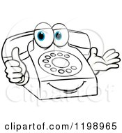 Clipart Of A Blue Eyed Telephone Mascot Holding A Thumb Up Royalty Free Vector Illustration