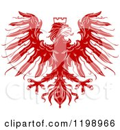 Clipart Of A Red Heraldic Eagle With A Crown Royalty Free Vector Illustration