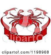 Clipart Of A Red Crab And Ribbon Banner Royalty Free Vector Illustration