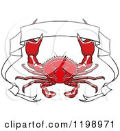 Clipart Of A Red Crab And White Ribbon Banner Royalty Free Vector Illustration