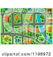 Clipart Of A Aerial Map View Of Suburban Houses Buildings And Roads By A River Royalty Free Vector Illustration