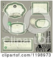 Clipart Of Distressed Green Money Themed Frames Letters Numbers And Certificates Royalty Free Vector Illustration by BestVector