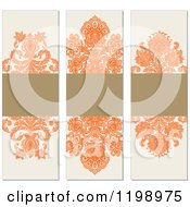 Clipart Of Orange Brown And Beige Vertical Damask Labels With Copyspace Royalty Free Vector Illustration