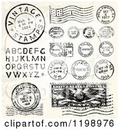 Clipart Of Vintage Postmark Stamps And Letters Royalty Free Vector Illustration