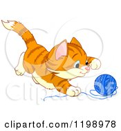 Cartoon Of A Cute Frisky Ginger Kitten Playing With Yarn Royalty Free Vector Clipart by Pushkin