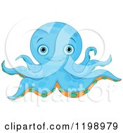 Cartoon Of A Cute Blue Octopus With Orange And Green Under Sides Royalty Free Vector Clipart by Pushkin