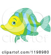 Cartoon Of A Cute Green Blue And Yellow Marine Fish Royalty Free Vector Clipart by Pushkin