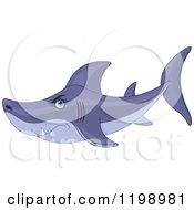 Cartoon Of A Mean Shark Royalty Free Vector Clipart by Pushkin