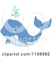 Cartoon Of A Cute Spouting Blue Whale Royalty Free Vector Clipart