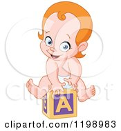 Cartoon Of A Happy Red Haired Caucasian Baby On An Alphabet Block Royalty Free Vector Clipart