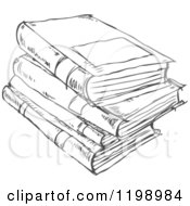 Black And White Stack Of Books Doodle Sketch