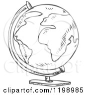 Cartoon Of A Black And White Desk Globe Doodle Sketch Royalty Free Vector Clipart