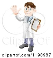 Cartoon Of A Friendly Brunette Male Doctor Holding A Medical Chart And Waving Royalty Free Vector Clipart